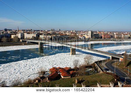 Novi Sad Serbia after snow storm and heavy fros