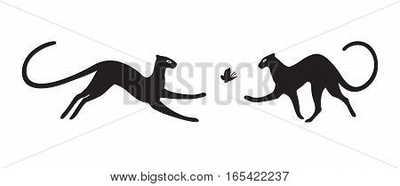 Black silhouette of panthers on white background. Vector illustration.