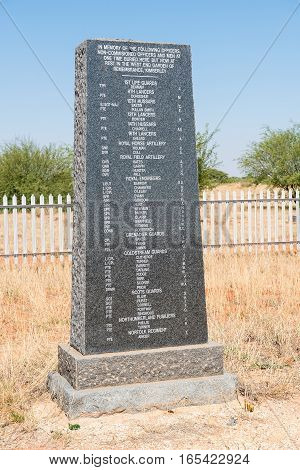RITCHIE SOUTH AFRICA - DECEMBER 31 2016: A monument near Ritchie for British soldiers who died during the second Boer War