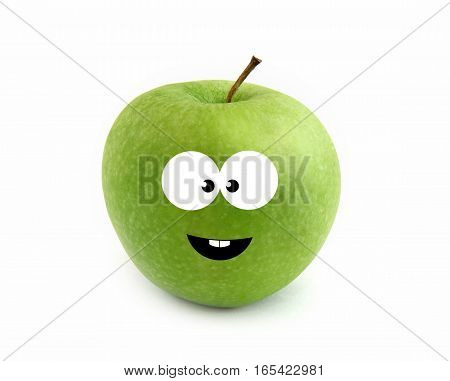 Happy green apple isolated over white background
