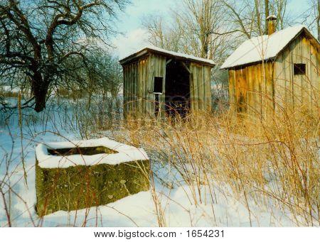 Abandoned Farm Buildings In Winter