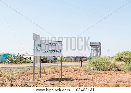 JACOBSDAL SOUTH AFRICA - DECEMBER 31 2016: A sign at the entrance of Jacobsdal a small town in the Free State Province