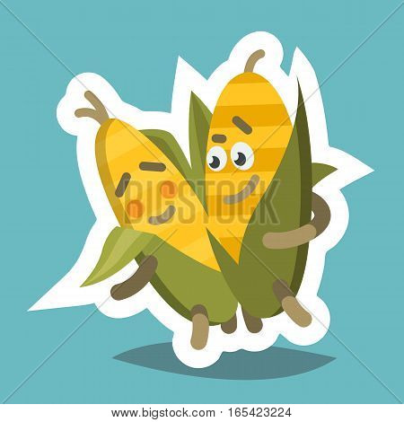 Vector illustration emoticon emoji icon on theme of autumn holiday. Autumn emoticon happy thanksgiving day. Funny corn.