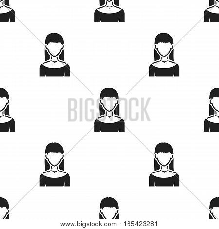 Girl with earrings icon black. Single avatar, peaople icon from the big avatar black. - stock vector