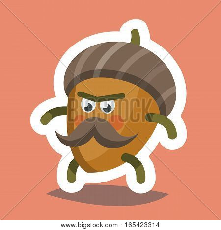 Vector illustration emoticon emoji icon on theme of autumn holiday. Autumn emoticon happy thanksgiving day. Cheeky nut