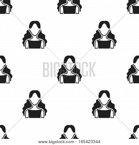 Curly girl icon black. Single avatar, peaople icon from the big avatar black. - stock vector