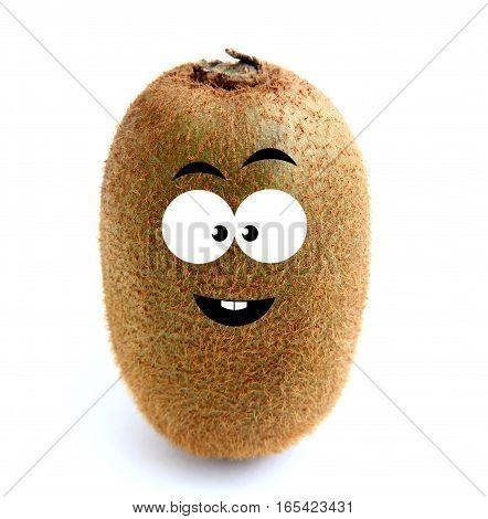 Happy kiwi fruit isolated over white background