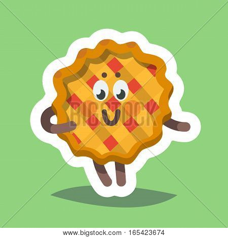 Vector illustration emoticon emoji icon on theme of autumn holiday. Autumn emoticon happy thanksgiving day. Sweet pie