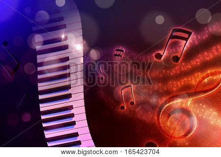 Illustration Keyboard With Black Red And Blue Background Horizontal