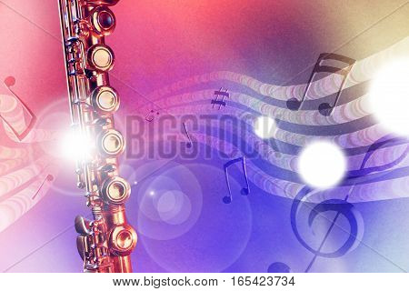 Illustration Transverse Flute With Red And Blue Lights Horizontal