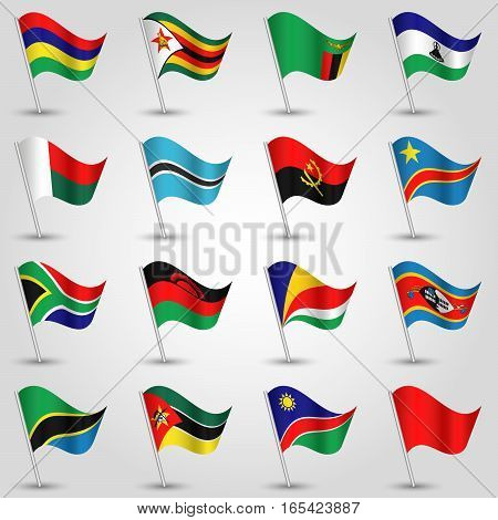 ector sets of waving flags southern africa on silver pole and red one - icon of african states angola botswana congo lesotho madagascar malawi mauritius mozambique namibia seychelles south africa swaziland tanzania zambia and zimbabwe