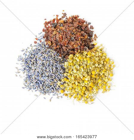 Dried herbs and flowers folk medicine of nature. Treats force of nature. Cynosbati Matricaria chamomilla lavandulae.
