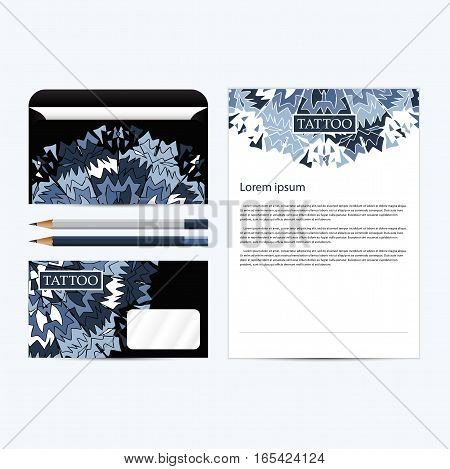 Corporate concept identity Tattoo salon template set black. Diamond business stationery mock-up. Branding design.Vector illustration.