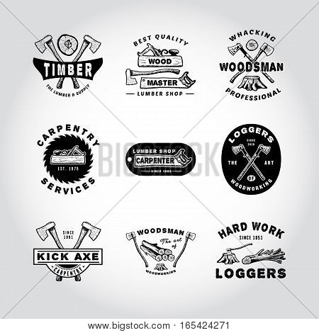 SET OF BADGE LUMBER, WOODWORKING, TOOL. Handmade axe, plane, tree, stump, hacksaw retro style. Design fashion apparel texture print. T shirt graphic vintage grunge  illustration badge label logo template.