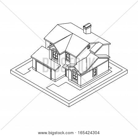 3d drawing of private house, vector illustration for coloring book