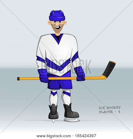 ice hockey player standing smiling without one tooth with stick in his hands