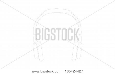 Vector - Headphones - Outline - Vektor - Kopfhoerer - Kontur - Icon, Symbol, Pictogram