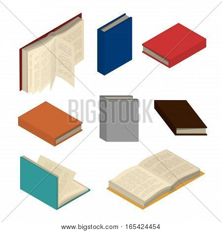 Set of colorful books and tutorials. Isometric flat vector.