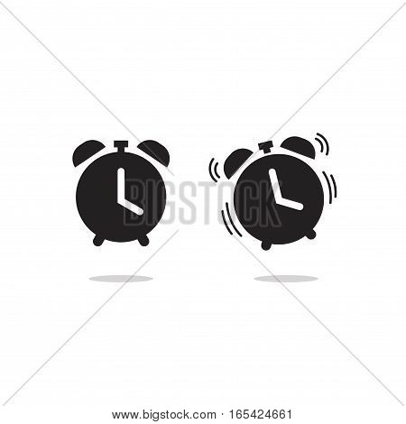 Clock alarm icon vector isolated on white background, classic retro alarm clock ringing pictogram black line outline style