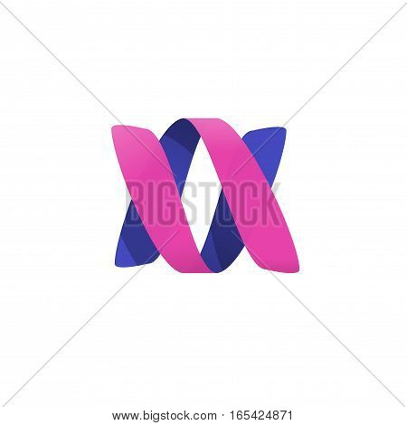 Abstract violet pink color ribbon spiral vector logotype, a v letters idea logo, beauty creative trendy helix symbol, gradient swirl element, twist sign template isolated on white background