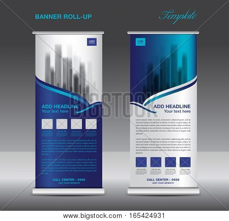 Blue Roll up banner template vector, flyer, advertisement, x-banner, poster, pull up design, display, vector illustration