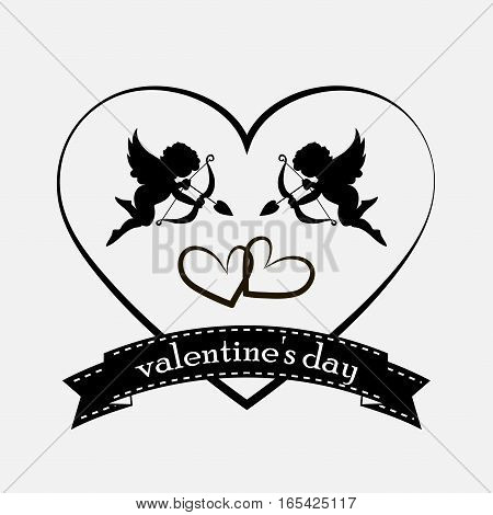 valentines day cards with ornaments hearts angel and arrow