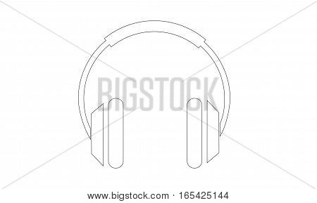 Vector - Headphones - Outline - Vektor - Icon, Symbol, Pictogram