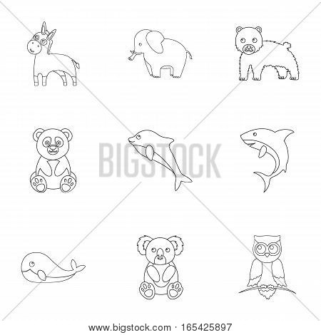 Animals set icons in outline style. Big collection of animals vector symbol stock