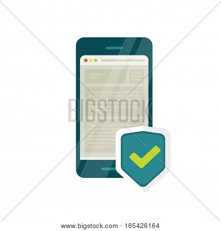 Mobile internet security icon vector illustration, smartphone with browser window and checkmark shield, concept of firewall data protection on mobile phone, secure web connection, safe website