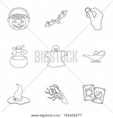 Black and white magic set icons in outline style. Big collection of black and white magic vector symbol stock