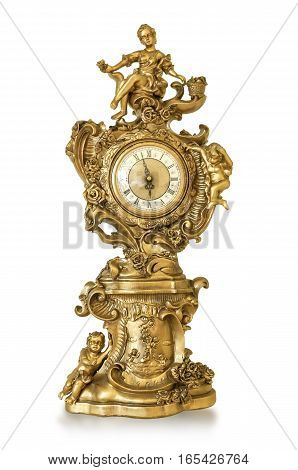 Vintage antique golden clock isolated on white with clipping path