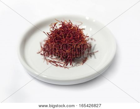 Saffron Threads isolated on white background selective focus