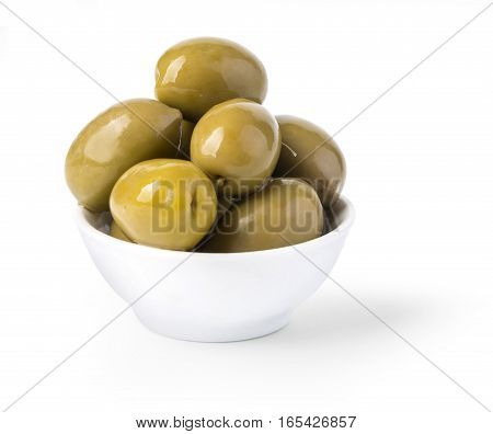 Bowl of brine cured green olives isolated on white with clipping path
