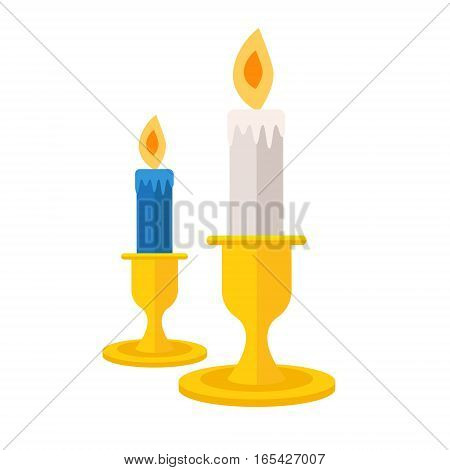 Pair of burning candles. Vector icon illustration. Candlelight symbol in flat design.