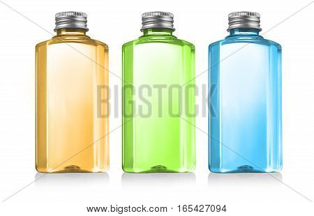 Beautiful colour Bottles with clear liquid on white background with clipping path