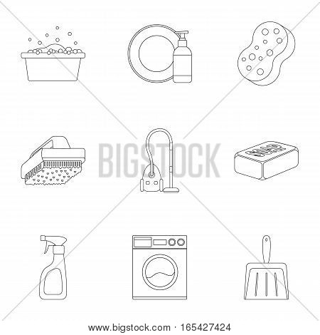 Cleaning set icons in outline style. Big collection of cleaning vector symbol stock