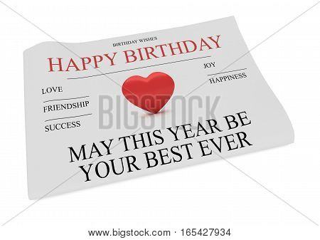 Happy Birthday Wishes Newspaper Front Page 3d illustration on white background
