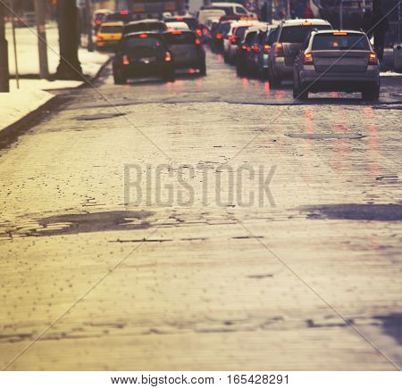 Traffic Jam In The City, Winter, Defocused Cars, Vintage Effect,