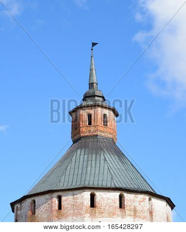 Fortress tower of Kirillo-Belozersky monastery by day near City Kirillov Vologda region Russia.