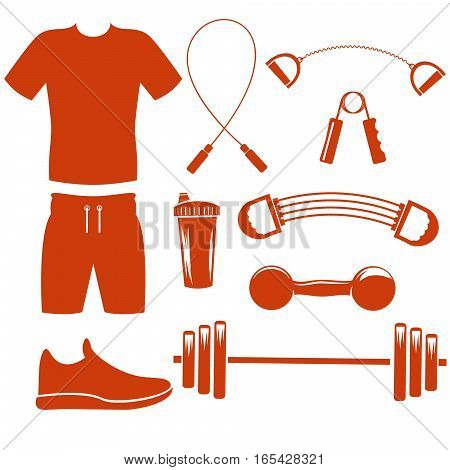Collection of sport equipment silhouette template.Vector set