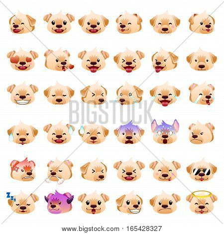A vector illustration of Labrador Retrievers Dog Emoji Emoticon Expression