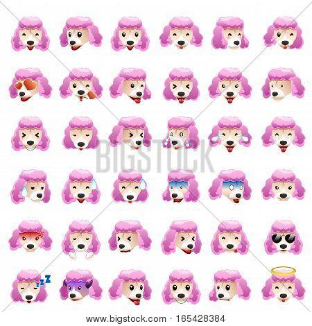 A vector illustration of Poodles Dog Emoji Emoticon Expression