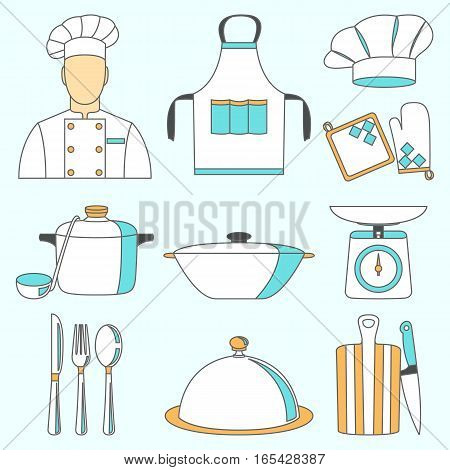 Vector illustration of cook and kitchenware icons set