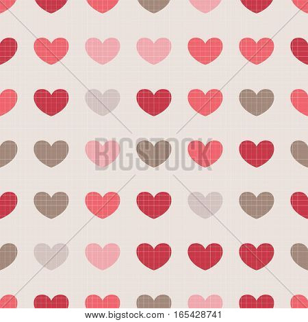 Seamless Pattern With Colorful Hearts On Beige Background.