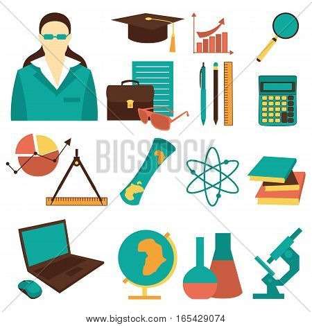 Education school university learning flat icons set with science elements isolated vector illustration