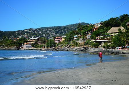 Playa la Madera in Zihuatanejo,Guerrero,Mexico with beach and hotels.