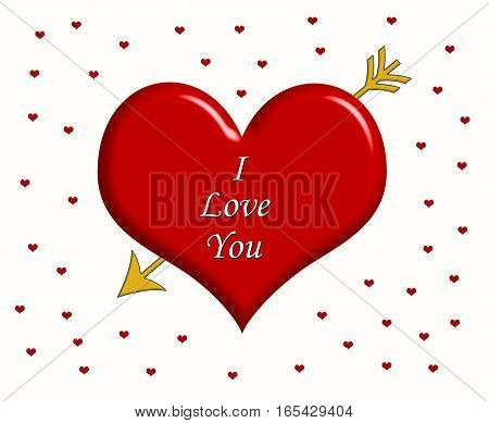 Message I Love You written on the big red heart with golden arrow and little red hearts around it
