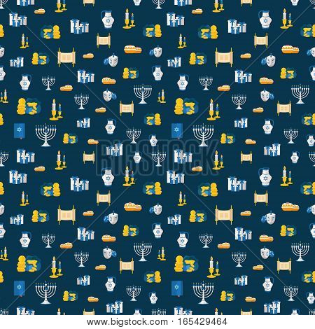 Holiday Of Hanukkah Web Banner Seamless Pattern. Jewish Symbols Print For Celebration Of Chanukah Or