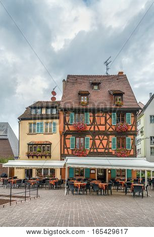 Historical houses on square in Colmar downtown Alsace France