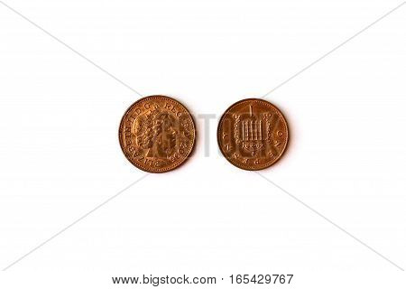 1 GB One Penny coin British money Queen Elizabeth II 2005 heads and tails. Symbol of English currency to wealth and investment. Money of United Kingdom